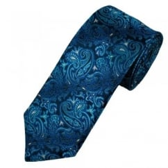 Ascot Navy & Shades Of Blue Paisley Silk Men's Designer Tie
