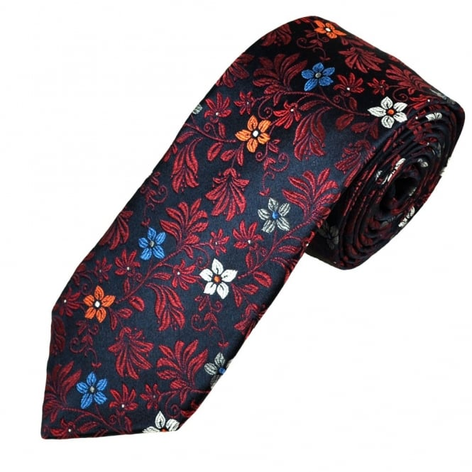 0b87339c3c56 Ascot Navy & Wine Red Floral Patterned Silk Men's Designer Tie from Ties  Planet UK
