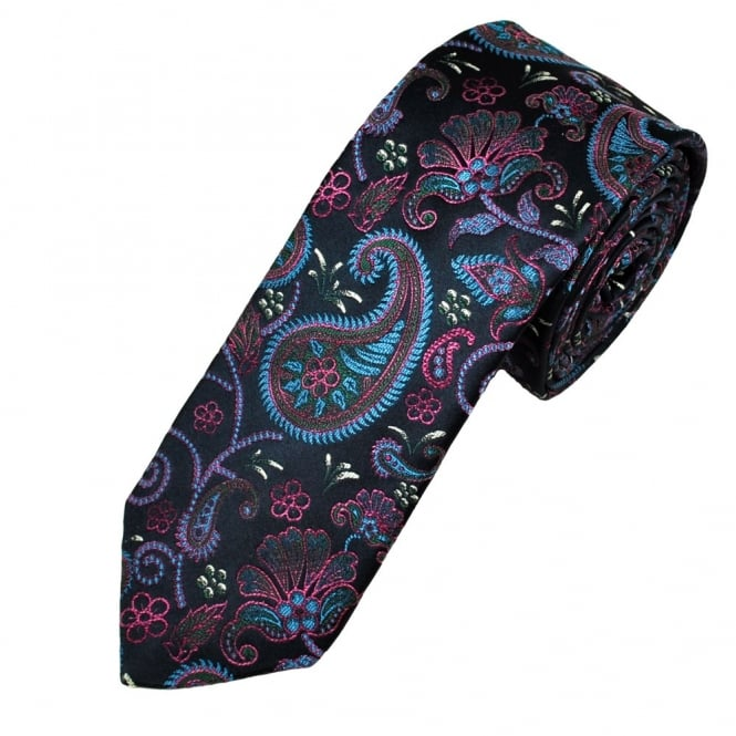 Ascot Navy With Blue & Fuchsia Pink Paisley Silk Men's Designer Tie