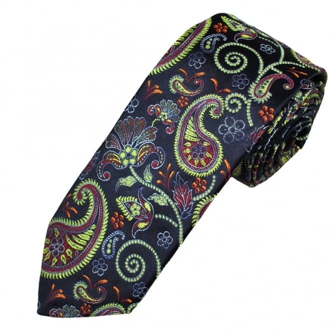 Ascot Navy With Lime Green & Light Blue Paisley Silk Men's Designer Tie