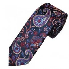 Ascot Navy With Red & Silver Paisley Silk Men's Designer Tie