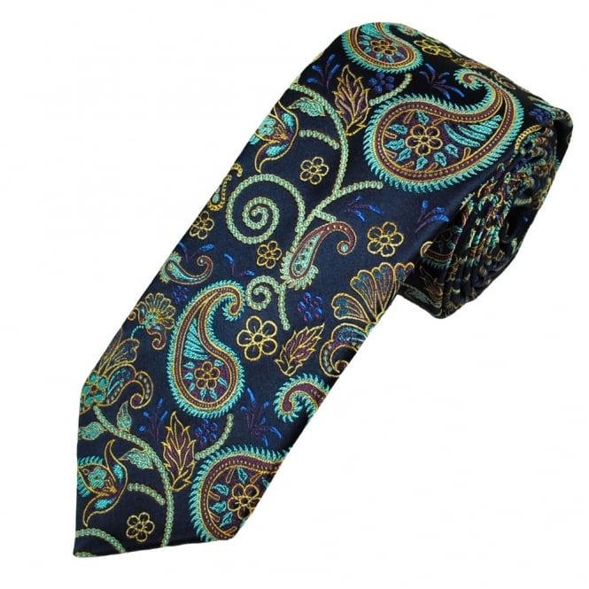 Ascot Navy With Turquoise & Yellow Paisley Silk Men's Designer Tie