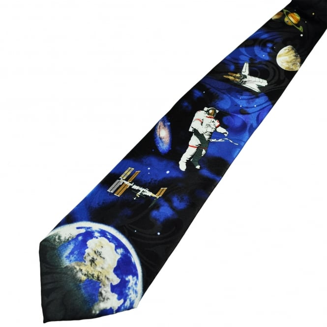 Astronaut in Space Novelty Tie
