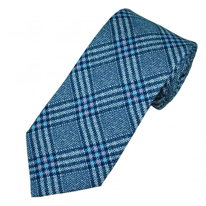 Atelier F&B Blue Check Patterned Men's Silk Designer Tie