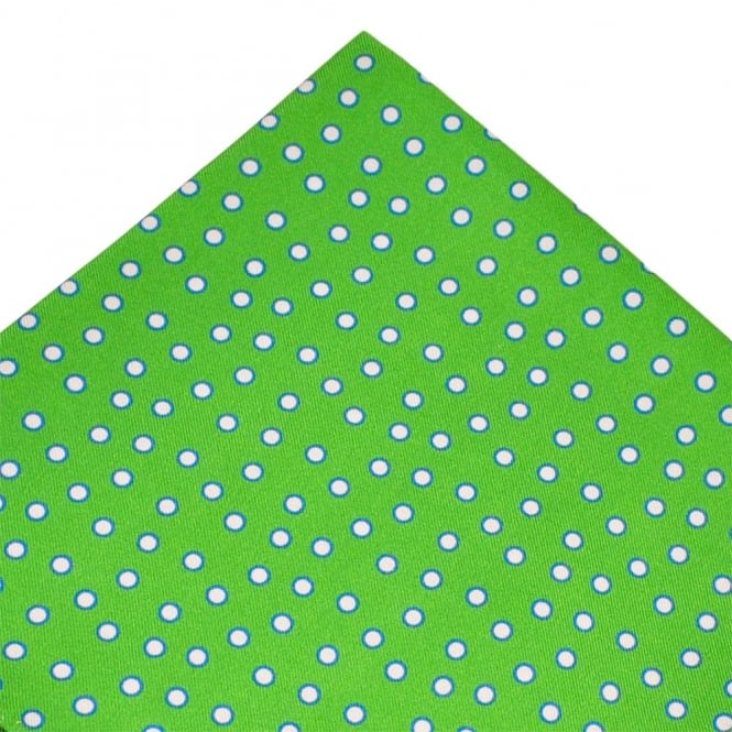 Atelier F&B Green, Pink & Blue Circle Patterned Designer Silk Pocket Square Handkerchief