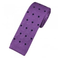 Atelier F&B Light Purple & Navy Blue Polka Dot Silk Knitted Tie