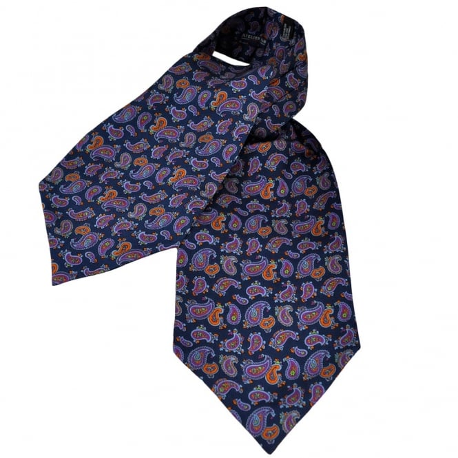 Atelier F&B Navy Blue Paisley Ascot Silk Casual Day Cravat