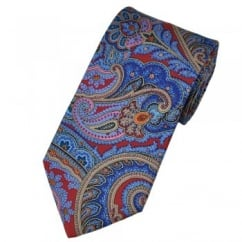 Atelier F&B Red & Blue Paisley Silk Designer Tie