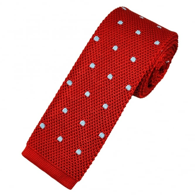 Atelier F&B Red & Light Blue Polka Dot Silk Knitted Tie