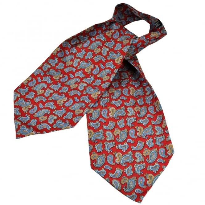 Atelier F&B Red Paisley Ascot Silk Casual Day Cravat