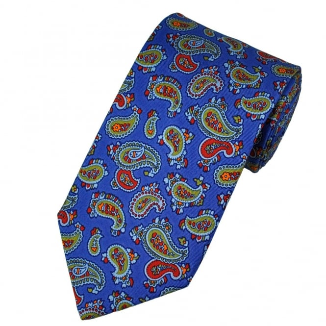 Atelier F&B Royal Blue Paisley Silk Designer Tie