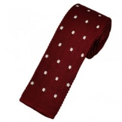 Atelier F&B Wine Red & White Polka Dot Silk Knitted Tie