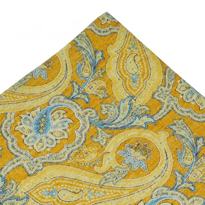 Atelier F&B Yellow Paisley Designer Silk Pocket Square Handkerchief