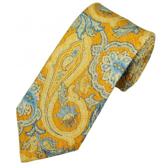 Atelier F&B Yellow Paisley Men's Designer Tie