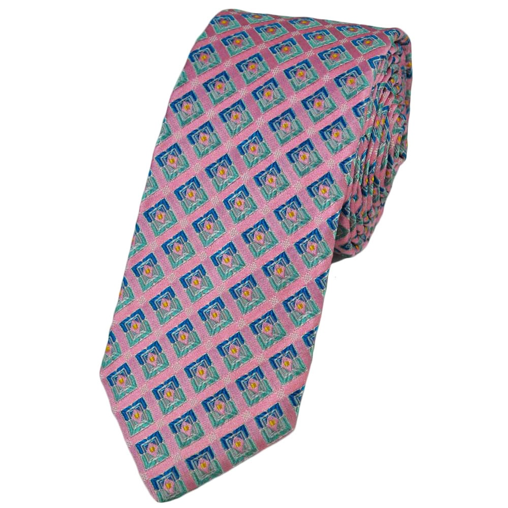 baby pink blue square patterned silk narrow tie from