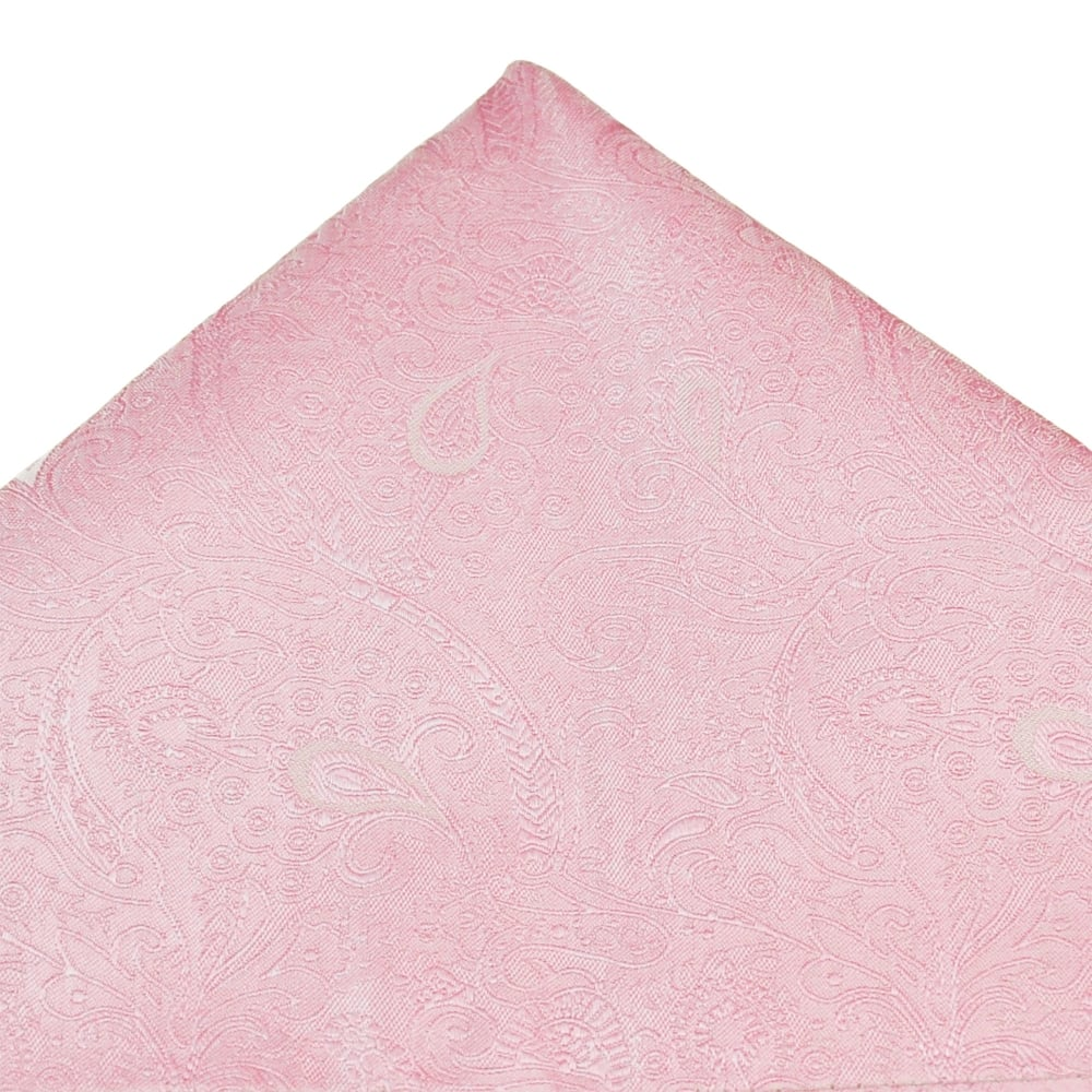Baby Pink Paisley Patterned Luxury Silk Pocket Square