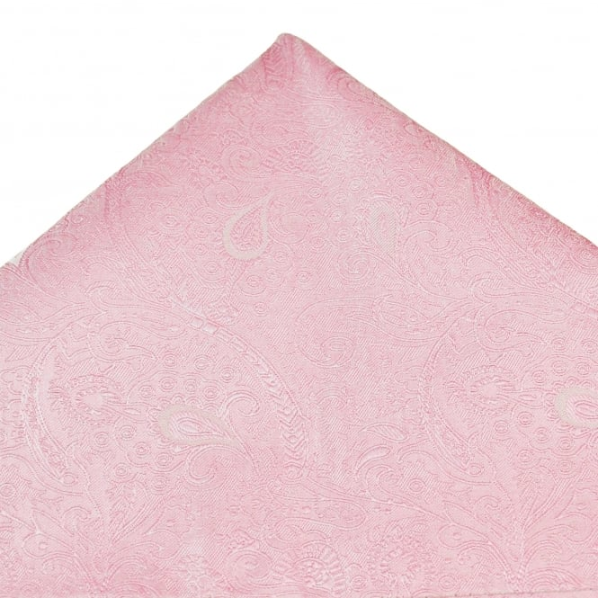 Baby Pink Paisley Patterned Luxury Silk Pocket Square Handkerchief
