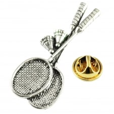 Badminton Rackets, Shuttlecocks Pewter Lapel Pin Badge