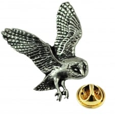 Barn Owl English Pewter Lapel Pin Badge