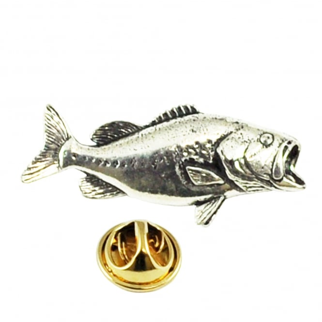 Bass Fish Pewter Lapel Pin Badge