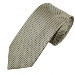 Beige, Black & Blue Patterned Men's Silk Tie