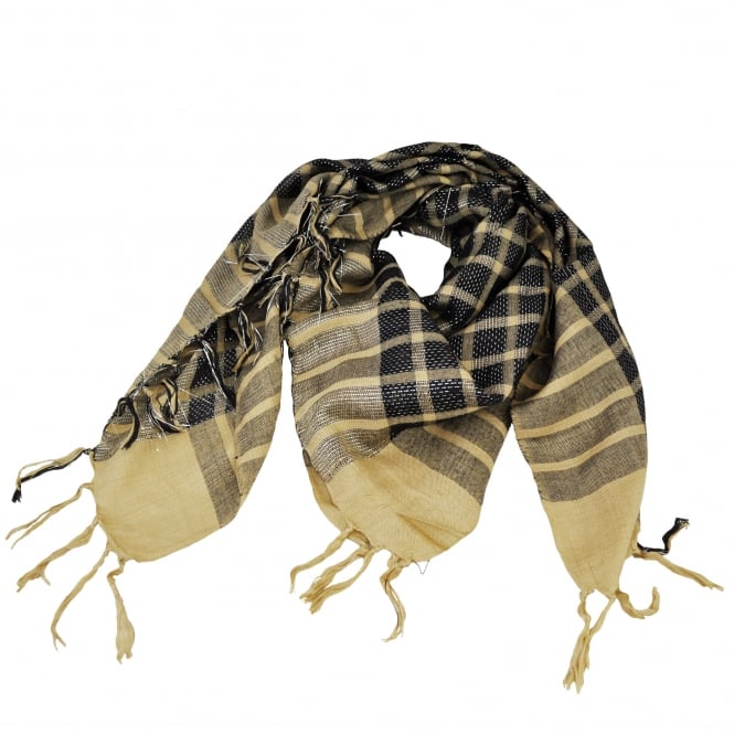 Beige & Black Sparkly Check Square Scarf