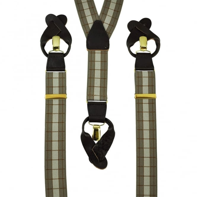 Beige & Brown Check Trouser Braces (with Brown Leather End Dual 2 in 1 Button and Clip Attachment)
