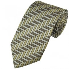 Beige Brown Chevron Striped Patterned Silk Tie