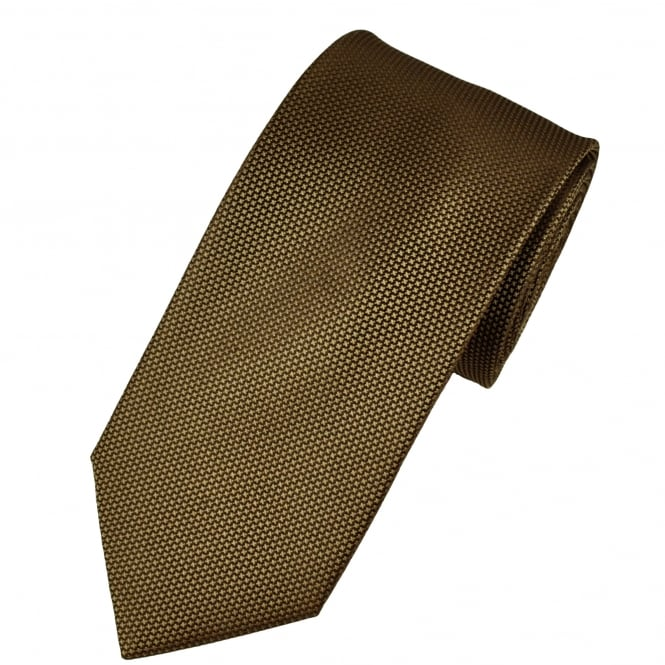 Beige & Brown Micro Checked Men's Silk Tie