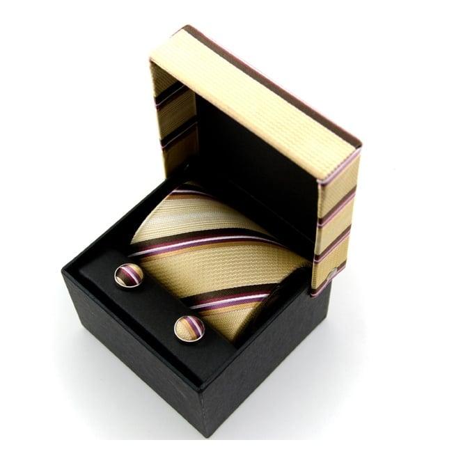 beige-purple-brown-yellow-striped-silk-tie-cufflinks-gift-box-set