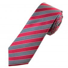 Ben Sherman Red, Navy Blue & Silver Striped Luxury Silk Men's Designer Tie
