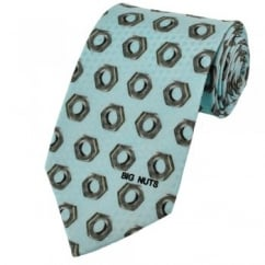 Big Nuts Light Blue Novelty Silk Tie