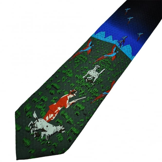 Birds & Hounds Hunting Scene Country Silk Novelty Tie