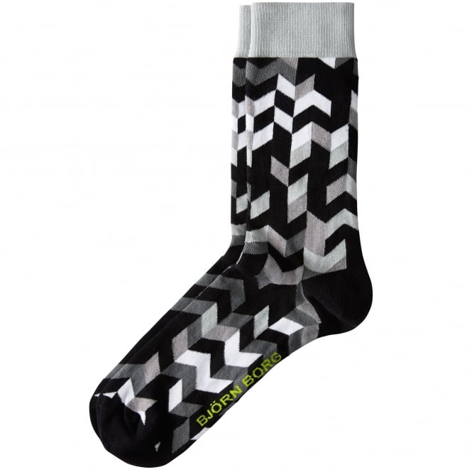 Bjorn Borg Black, Grey & White Patterned Men's Socks 7-11