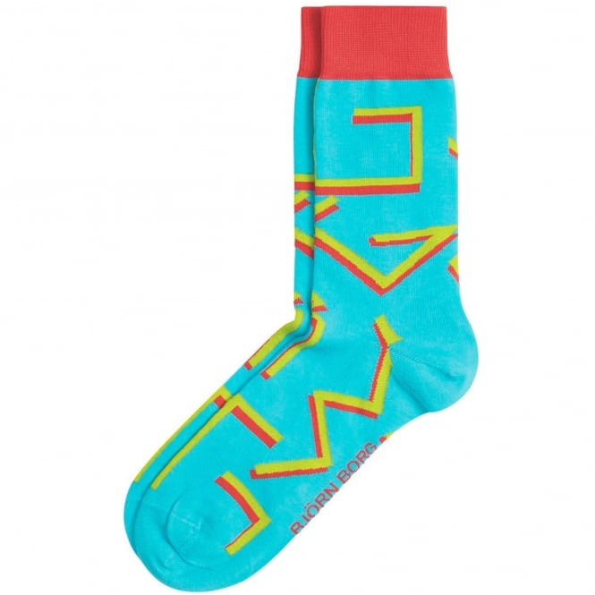 Bjorn Borg Blue, Red & Green Patterned Men's Socks 7-11