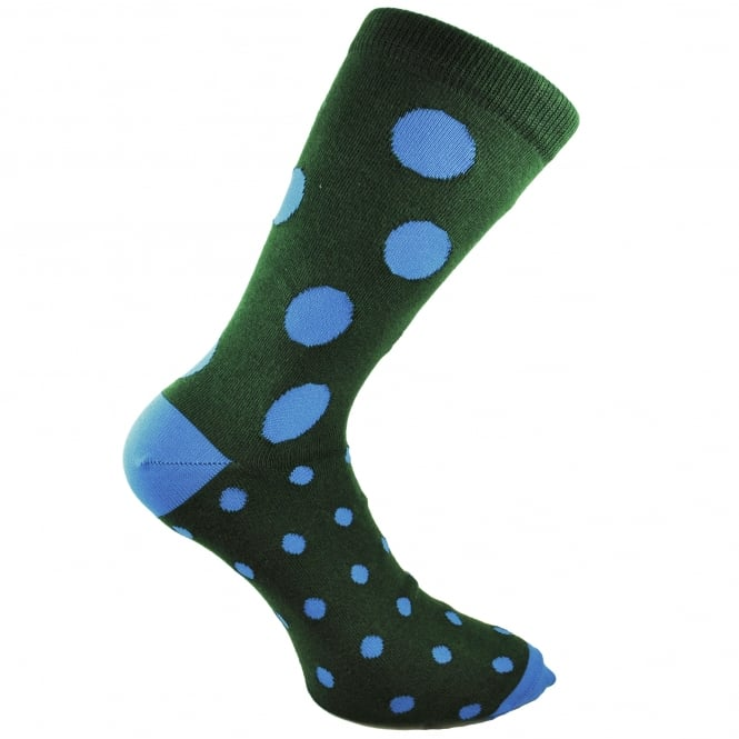 Bjorn Borg Bottle Green & Royal Blue Polka Dot Men's Socks 7-11