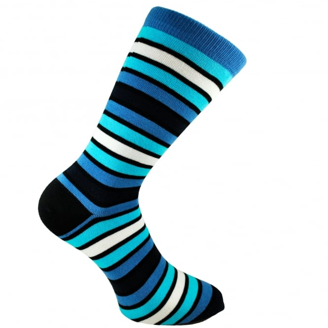 Bjorn Borg Shades Of Blue & White Horizontal Striped Men's Socks 7-11