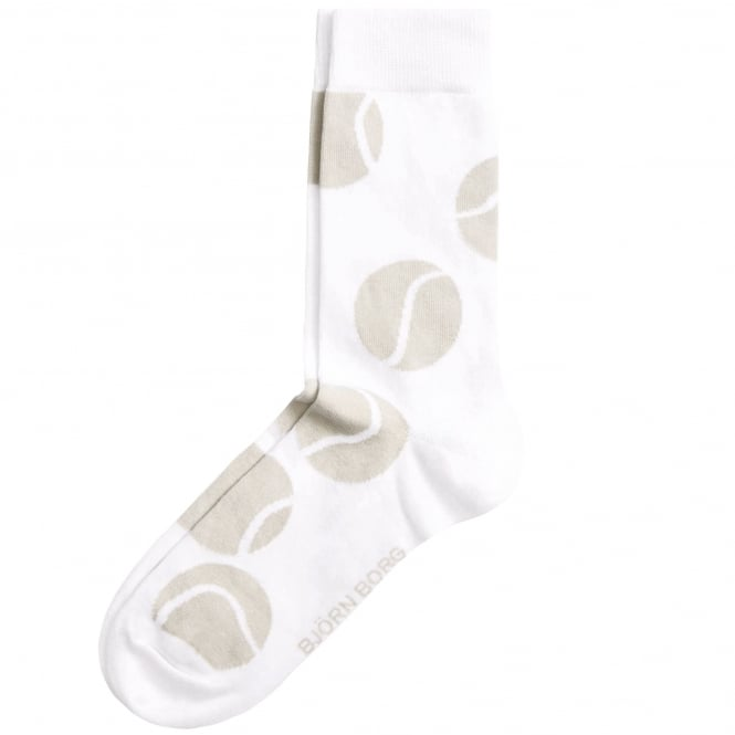 Bjorn Borg White & Beige Tennis Ball Patterned Men's Socks 7-11