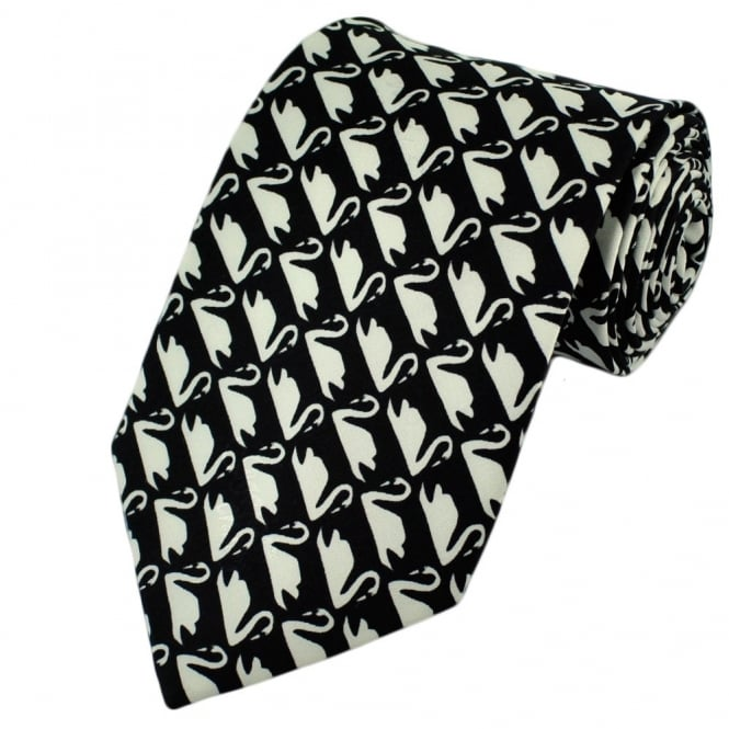 Black And White Swans Silk Tie