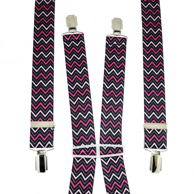 Black, Baby Pink & Fuchsia Pink Zig Zag Patterned Men's Trouser Braces