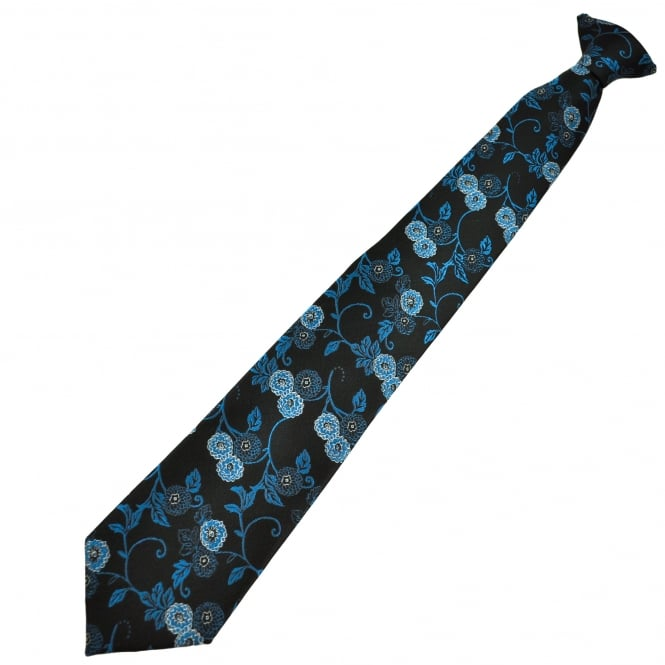 Black & Blue Flower Patterned Men's Clip On Tie