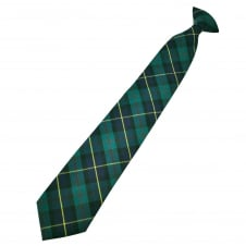Black, Blue, Green, Red & Yellow Tartan Wool Blend Men's Clip On Tie