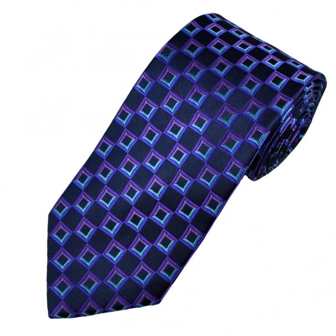 Black, Blue & Purple Square Patterned Men's Silk Tie
