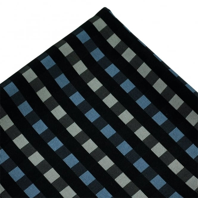 Black, Blue & Silver Check Patterned Silk Pocket Square Handkerchief