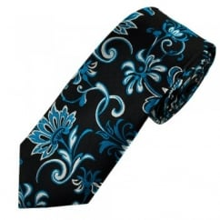 Black, Blue & Silver Floral Patterned Luxury Narrow Silk Tie
