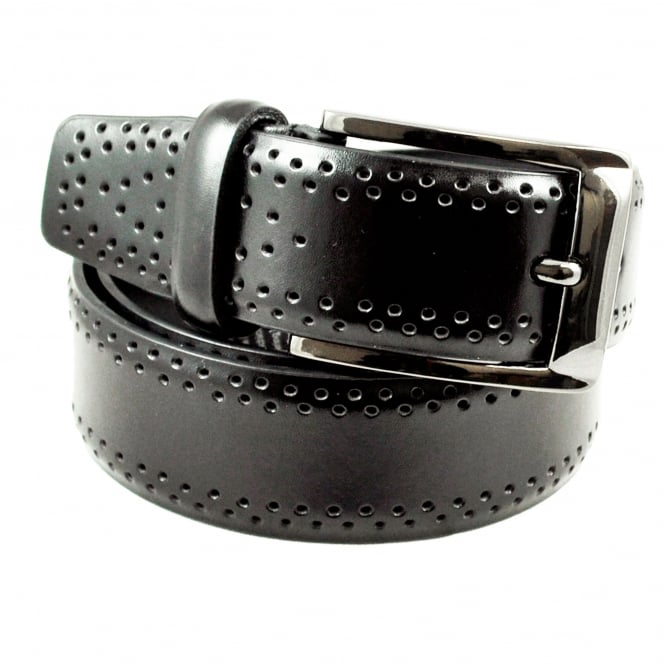 Black Brogue 35mm Men's Leather Belt