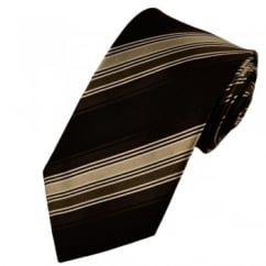 Black, Brown, Beige & White Striped Silk Tie