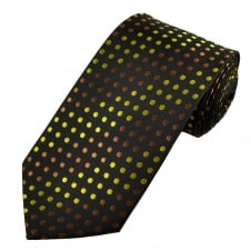 Black, Brown & Gold Polka Dot Men's Extra Long Tie