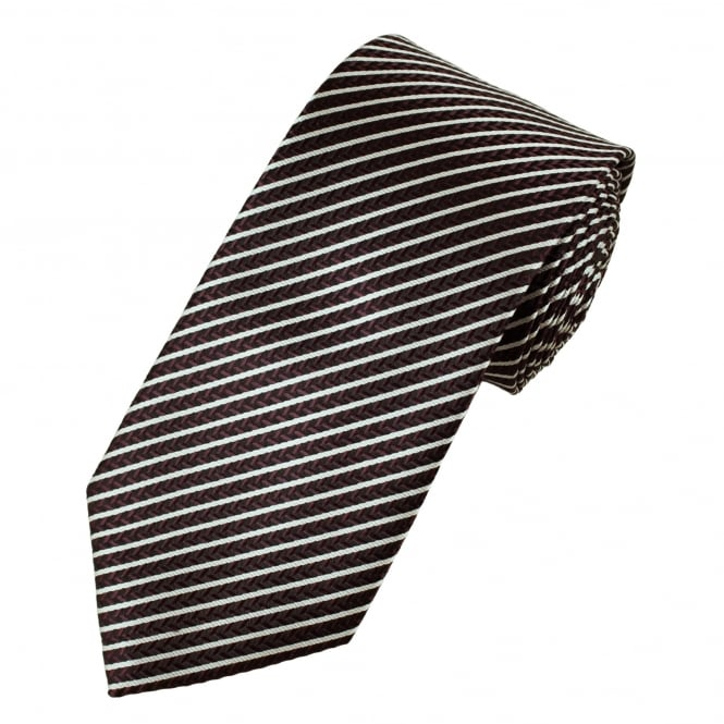 Black, Burgundy Chevron & Silver Striped Men's Tie