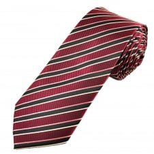 Black, Burgundy, Pink & White Striped Men's Extra Long Tie